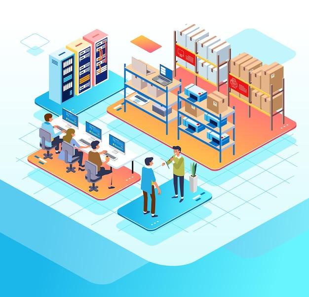 Izometryczna ilustracja przedstawiająca pracę administratorów firmy e-commerce w biurze