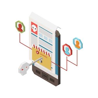 Izometryczna ilustracja przestępczości cyfrowej z kluczem smartfona do powiadomienia ostrzegawczego o danych osobowych