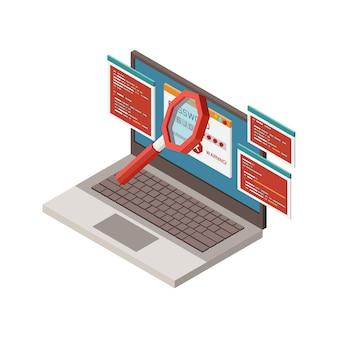 Izometryczna ilustracja przestępczości cyfrowej z kradzieżą hasła na laptopie 3d