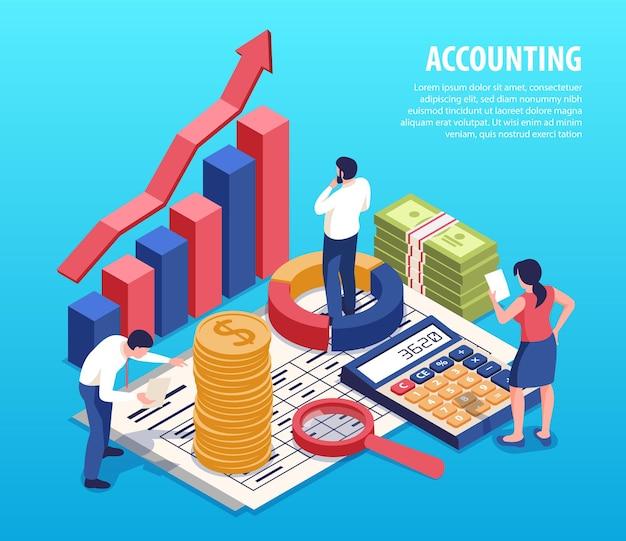 Izometryczna ilustracja rachunkowości