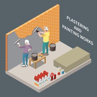 Izometryczna ilustracja renowacji pokoju z dwiema osobami tynkuje i maluje ceglane ściany