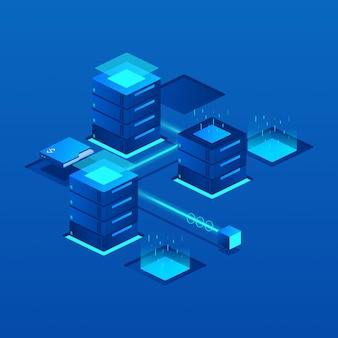 Izometryczna ilustracja serwera danych