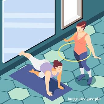 Izometryczna ilustracja siłowni dużych ludzi krzywych dziewczyn