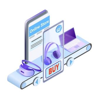 Izometryczna ilustracja sklepu internetowego aplikacji mobilnej