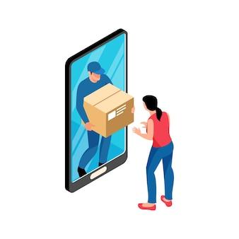 Izometryczna ilustracja sklepu internetowego z klientem i kurierem dostarczającym towary 3d