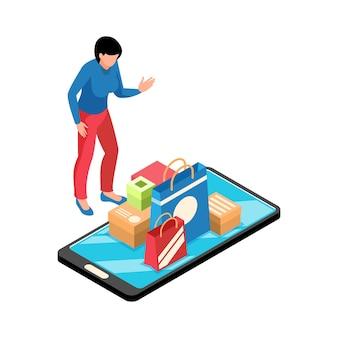 Izometryczna ilustracja sklepu internetowego z torbami na zakupy i pudełkami postaci kobiety na ekranie smartfona