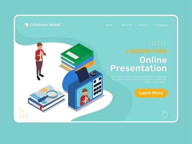 Izometryczna ilustracja strony docelowej ze studentem do prezentacji online przed cyfrowym aparatem.