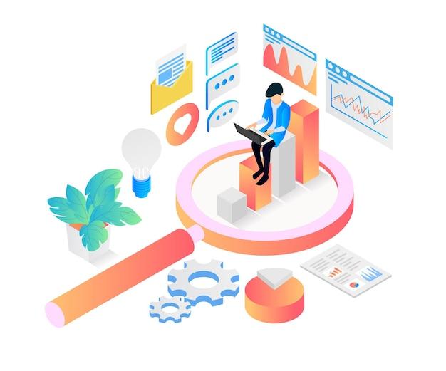 Izometryczna ilustracja stylu analizy danych seo strony internetowej z postacią i laptopem