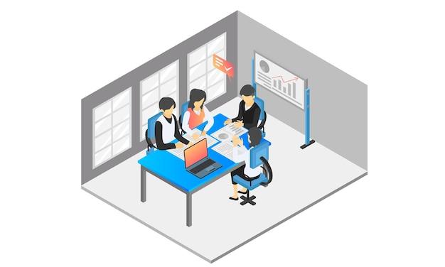Izometryczna ilustracja stylu spotkania zespołu omawiającego rozwój biznesu