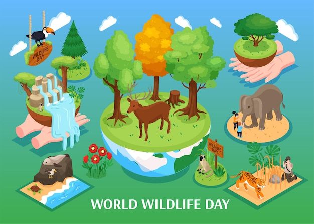 Izometryczna ilustracja światowego dnia dzikiej przyrody ze zwierzętami kreskówek leśnej dżungli sawanny i oceanu