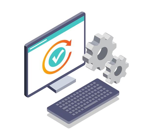 Izometryczna ilustracja systemu konserwacji komputera i ładowania instalacji