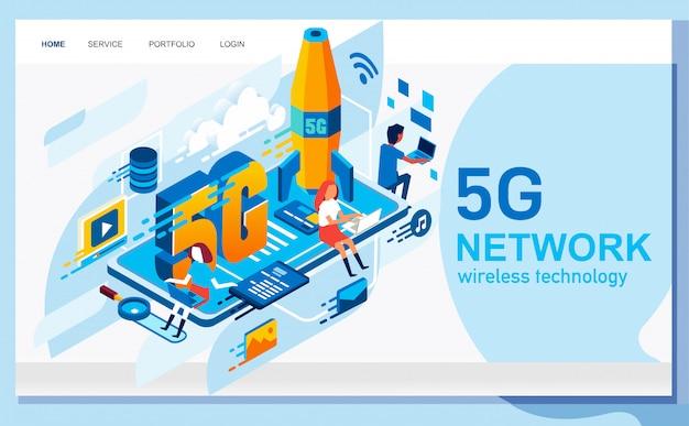 Izometryczna ilustracja systemu sieci technologii 5g zilustrowana wieloma osobami uzyskującymi dostęp do internetu ze swojego laptopa, rakiety i dużej ilustracji telefonu