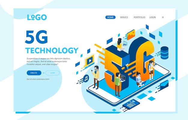 Izometryczna ilustracja technologii, ludzie z laptopem i telefonem