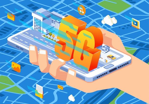 Izometryczna ilustracja technologii połączenia 5g zastosowanej w telefonie na każdą potrzebę, dostęp do wszystkiego w internecie staje się łatwiejszy i szybszy