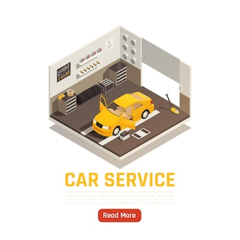 Izometryczna ilustracja warsztatu samochodowego