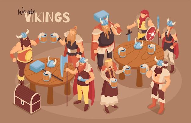 Izometryczna ilustracja wikingów