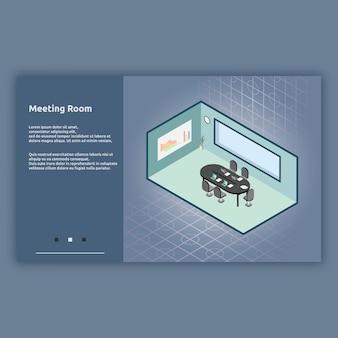 Izometryczna ilustracja wnętrza sali konferencyjnej