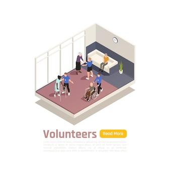 Izometryczna ilustracja wolontariatu na cele charytatywne z widokiem wewnątrz centrum medycznego z tekstem i przyciskiem ludzi