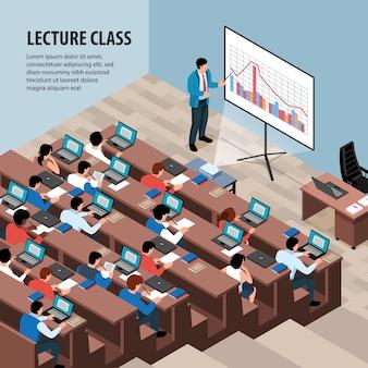 Izometryczna ilustracja wykładu profesora z widokiem na salę lekcyjną z rzędami biurka
