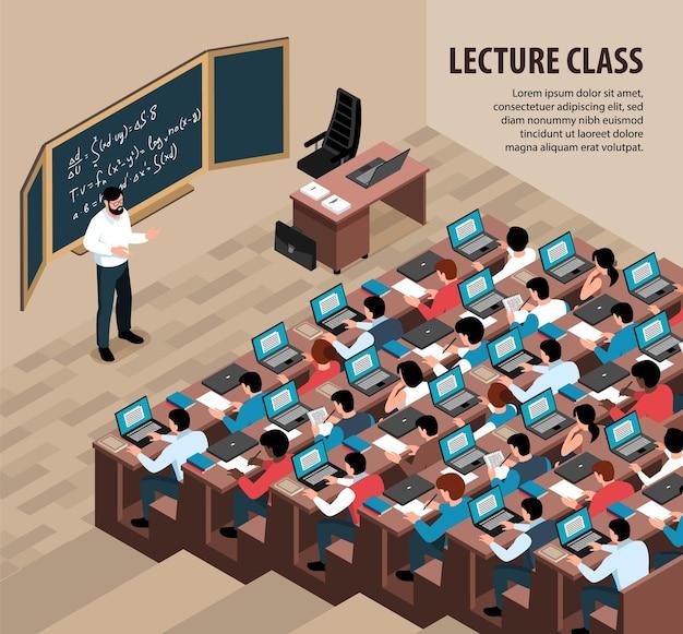 Izometryczna ilustracja wykładu z wykładowcą wnętrz przed tablicą i studentami z laptopami