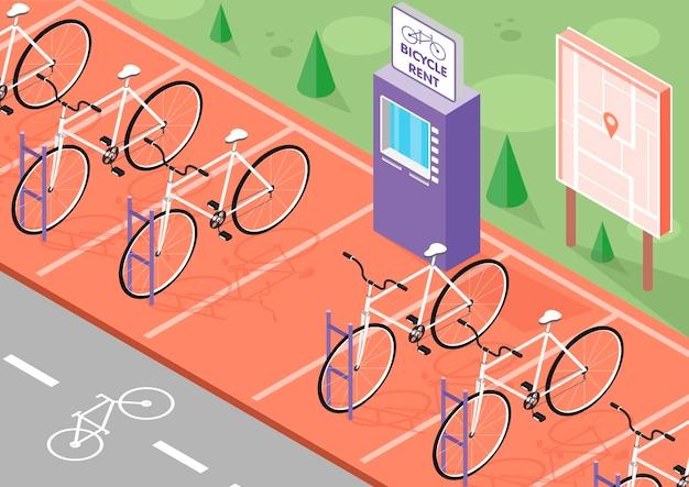 Izometryczna ilustracja wypożyczenia rowerów z parkingiem rowerowym i mapą