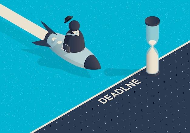 Izometryczna ilustracja z biznesmenem na rakietę i termin