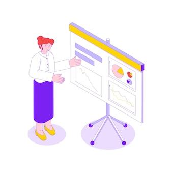Izometryczna ilustracja z bizneswoman robi prezentację z diagramami i wykresami na spotkaniu 3d