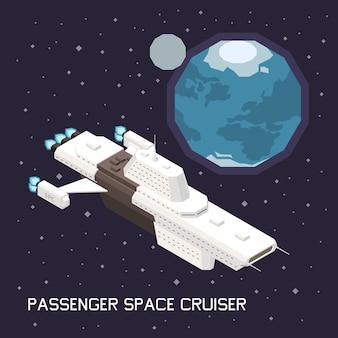 Izometryczna ilustracja z dużym statkiem kosmicznym przewożącym pasażerów