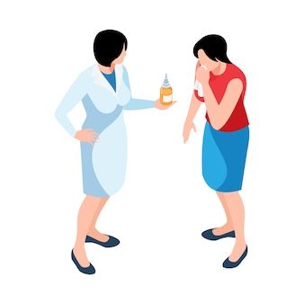 Izometryczna ilustracja z farmaceutą podającym leki chorej kobiecie