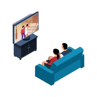 Izometryczna ilustracja z mężczyzną i kobietą oglądającym romantyczny film na izolowanej kanapie