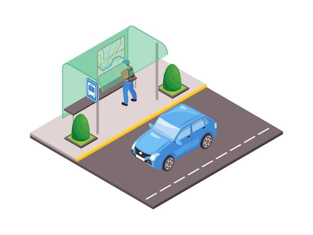 Izometryczna ilustracja z niebieskim samochodem na drodze i mężczyzna patrzący na mapę w wiaty autobusowej