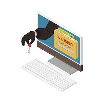 Izometryczna ilustracja z ostrzeżeniem na komputerze i hakerem trzymającym klucz kradnący hasło 3d