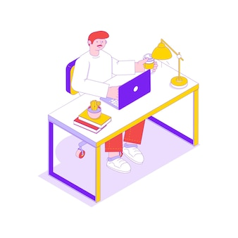 Izometryczna ilustracja z pracownikiem biurowym przy biurku z laptopem i filiżanką kawy