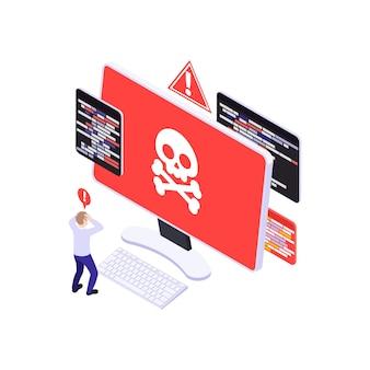 Izometryczna ilustracja z przerażonym ludzkim charakterem i wirusem komputerowym 3d