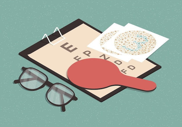 Izometryczna ilustracja z tabelą testu wzroku, okularami i testem ishihary
