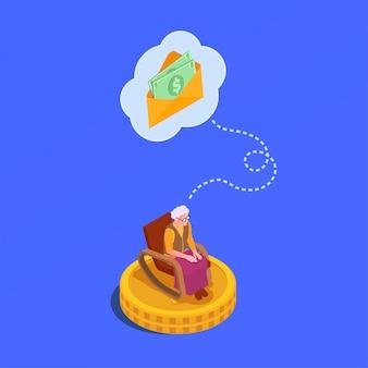 Izometryczna ilustracja zabezpieczenia społecznego z kopertą z pieniędzmi przeznaczonymi dla starszej kobiety siedzącej w fotelu