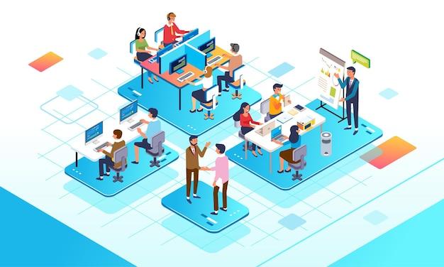 Izometryczna ilustracja zajętego codziennego biura, które obejmuje spotkanie projektowe i centrum klienta