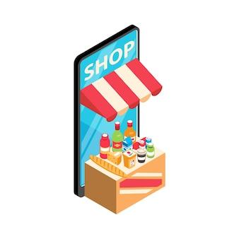 Izometryczna ilustracja zakupów online ze smartfonem z jedzeniem i napojami 3d
