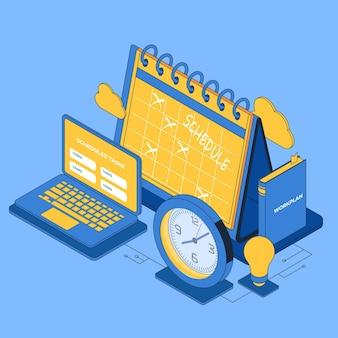 Izometryczna ilustracja zarządzania czasem