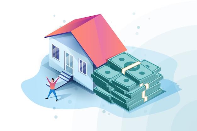 Izometryczna ilustracja zatwierdzona hipoteką z domem i kupą pieniędzy. szczęśliwy człowiek dostał kredyt hipoteczny.