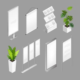 Izometryczna ilustracja ze szczegółami dla wystawy handlowej w pomieszczeniach strefa stoisk ekspozycyjnych do prezentacji z ekranami, uchwytami, banerami, stojakami i izolowanymi roślinami.
