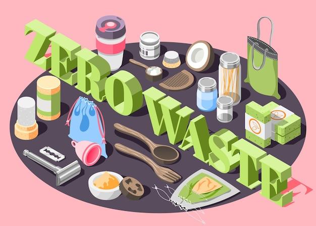 Izometryczna ilustracja zero odpadów
