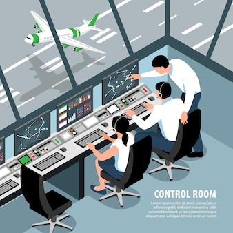Izometryczna ilustracja zespołu kontroli ruchu na lotnisku z operatorami pokojów kontrolnych samolotów scenerii wewnętrznej i edytowalnym tekstem