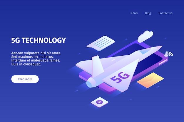 Izometryczna internetowa pozioma strona docelowa 5g z kolorowymi obrazami samolotu smartfona i klikalnymi linkami z ilustracją tekstową