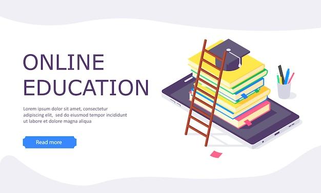 Izometryczna internetowa strona docelowa studiów edukacji online