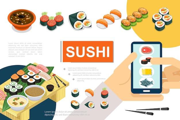 Izometryczna japońska kompozycja żywności z różnymi rodzajami zupy sushi sashimi i ilustracją zamówienia rolek online