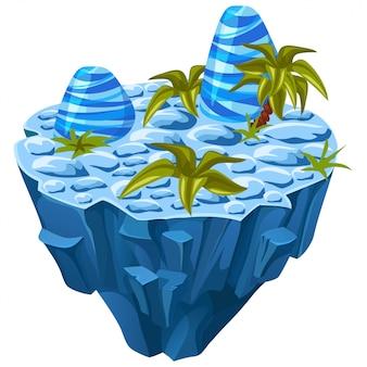 Izometryczna kamienna wyspa.