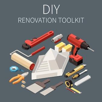 Izometryczna karta zestawu narzędzi do renowacji diy