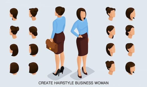 Izometryczna kobieta biznesu zestaw 1 3d, fryzury damskie, aby stworzyć stylową kobietę biznesu, widok z tyłu modnej fryzury