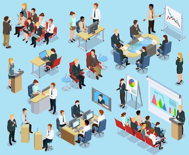 Izometryczna kolekcja business coaching
